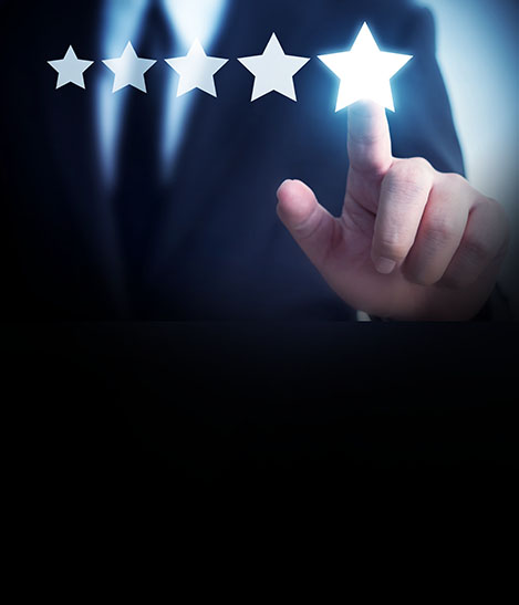 Businessman hand touching five star symbol to increase rating of company concept, Copy space background for your title